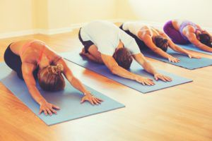 People on foam mats stretching their backs practicing yoga